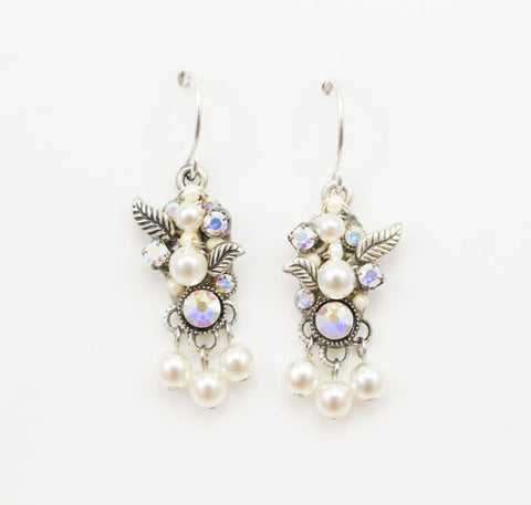 White Pearl Flora with Dangle Earrings by Firefly Jewelry