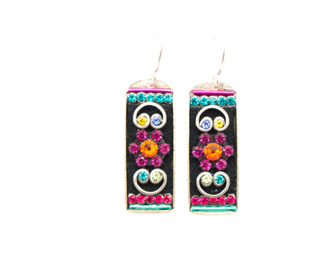 Multi Color Baguette Earrings with Mosaic Scroll by Firefly Jewelry