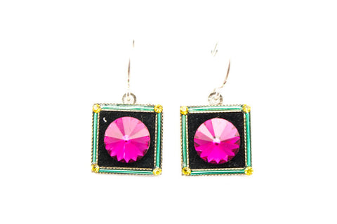 Multi Color Square Moon Earrings by Firefly Jewelry