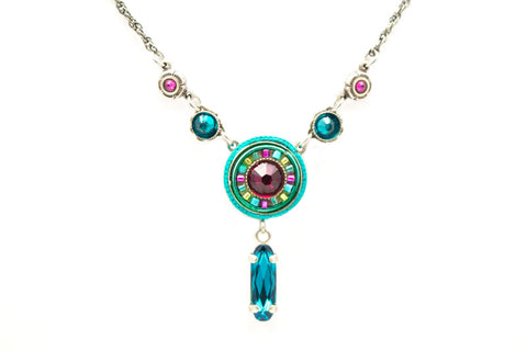 Indicolite La Dolce Vita Circle with Y Drop Necklace by Firefly Jewelry