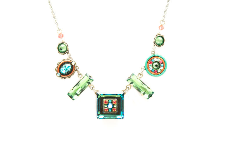 Erinite La Dolce Vita Mosaic Crystal Necklace by Firefly Jewelry