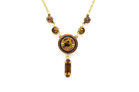 Smokey Topaz La Dolce Vita Circle with Drop Necklace by Firefly Jewelry