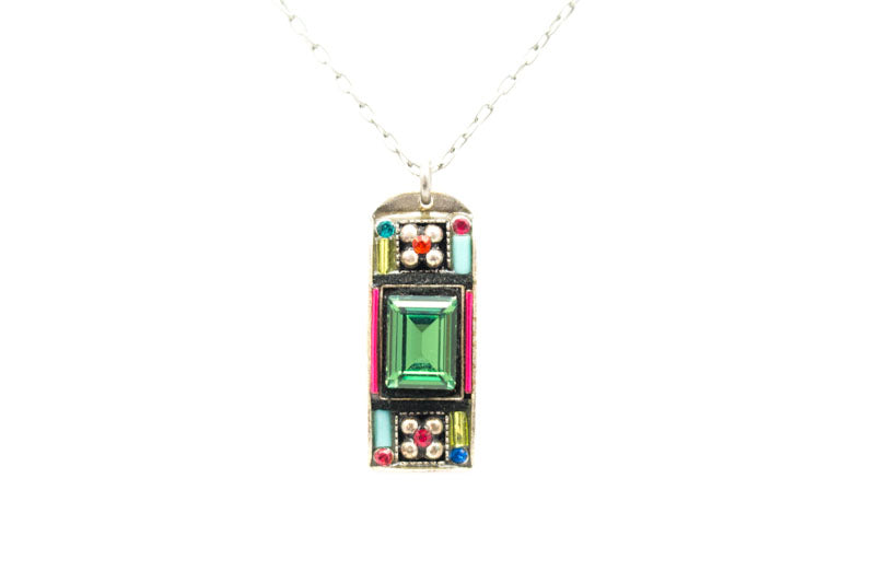 Multi Color Baguette Pendant Necklace by Firefly Jewelry