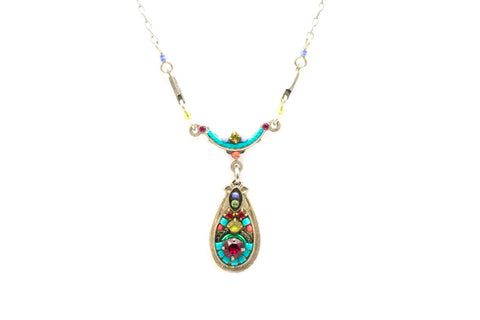 Multi Color Delicate Victorian Mosaic Necklace with Drop by Firefly Jewelry