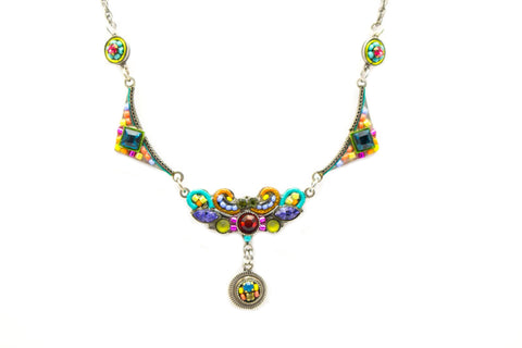 Multi Color Fleur mosaic Necklace with Drop by Firefly Jewelry