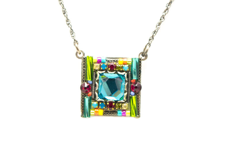 Multi Color Complex Square Pendant by Firefly Jewelry