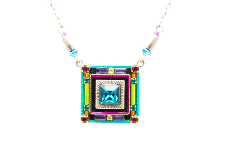 Multi Color Geometric Square Necklace by Firefly Jewelry