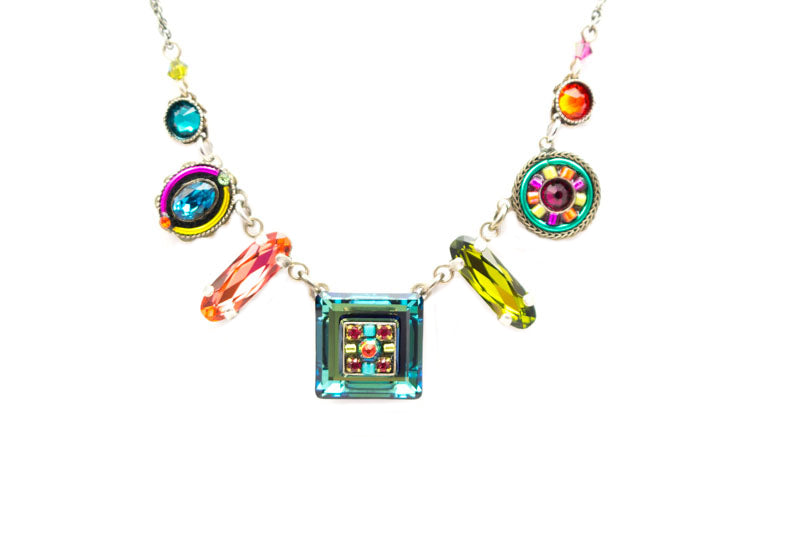 Multi Color La Dolce Vita Mosaic Crystal Necklace by Firefly Jewelry