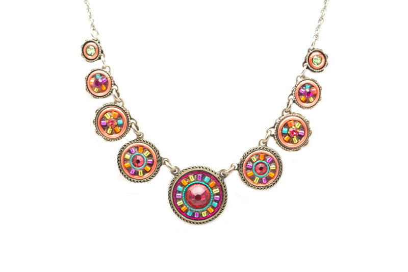Padparadscha La Dolce Vita Circles Necklace by Firefly Jewelry