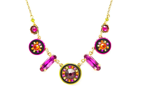 Ruby La Dolce Vita Circle w/ Drop Necklace by Firefly Jewelry