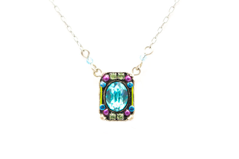Light Turquoise Petite Crystal Pendant by Firefly Jewelry