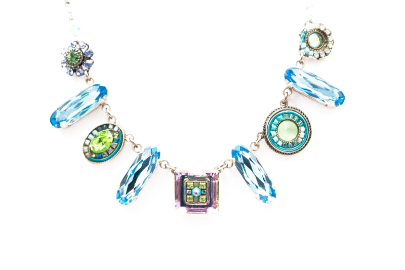Light Blue La Dolce Vita Oblong Necklace by Firefly Jewelry