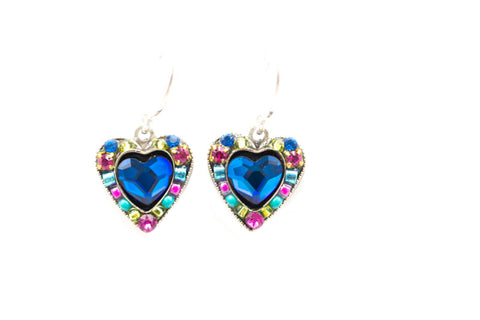 Bermuda Blue Rose Heart Earrings by Firefly Jewelry