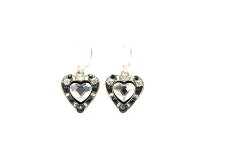 Black and White Rose Heart Earrings by Firefly Jewelry