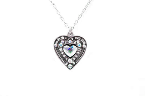 Aurora Borealis Rose Heart Pendant Necklace by Firefly Jewelry