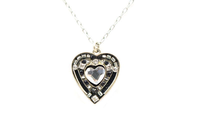 Black and White Rose Heart Pendant Necklace by Firefly Jewelry