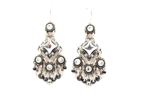 Black and White Bright Chandelier Earrings by Firefly Jewelry