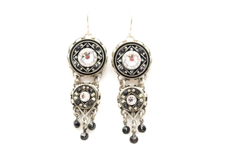 Black And White Isabella Chandelier Earrings By Firefly Jewelry