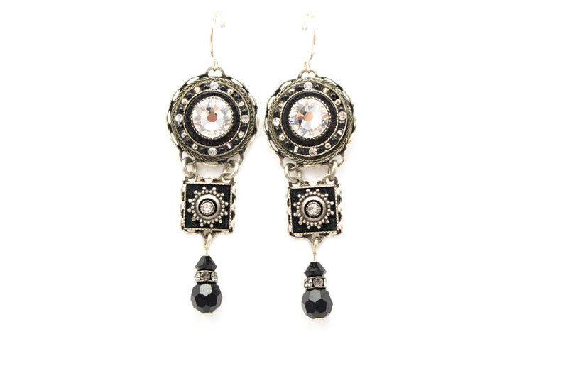 Black and White La Dolce Vita 3 Tier Earrings by Firefly Jewelry