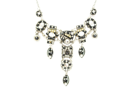 Black and White Viva Large Necklace by Firefly Jewelry