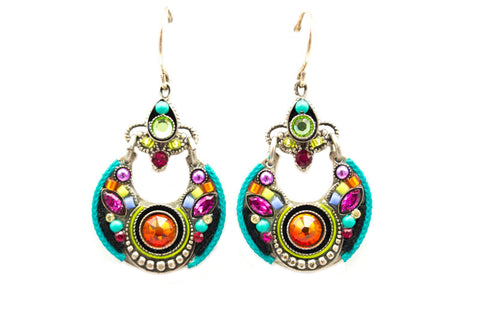 Multicolor Adorned Hoop Earrings by Firefly Jewelry