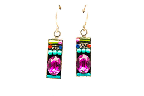 Multi Color Small Baguette Earrings by Firefly Jewelry
