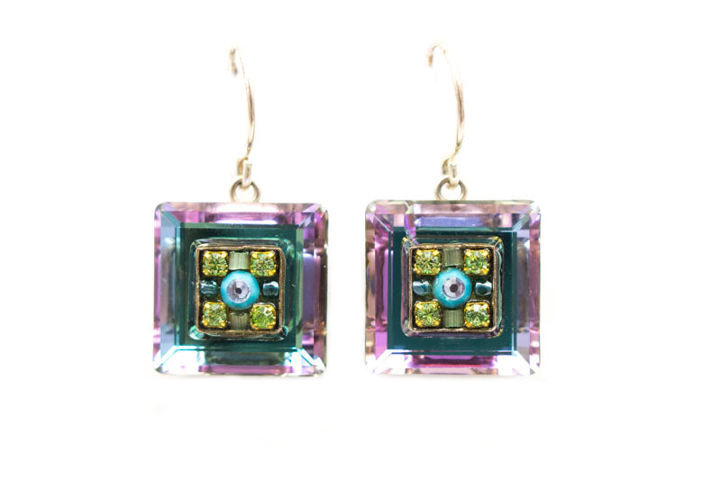 Ldv Crystal Square Earrings- Lb by Firefly Jewelry
