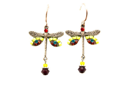 Red Dragonfly Earrings by Firefly Jewelry