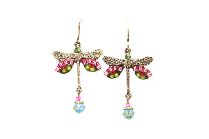 Hot Pink Dragonfly Earrings by Firefly Jewelry