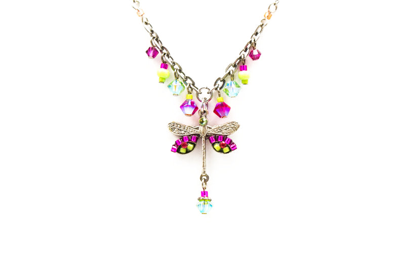 Hot Pink Dragonfly Simple Small Necklace with Dangles by Firefly Jewelry