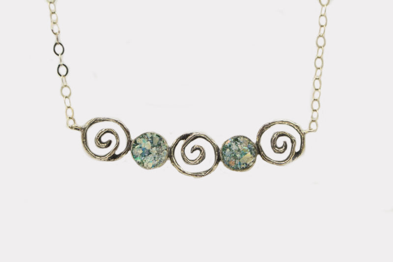 Spirals and Circles Roman Glass Necklace
