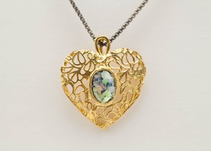 Heart of Gold with Sterling Silver Chain Patina Roman Glass Necklace