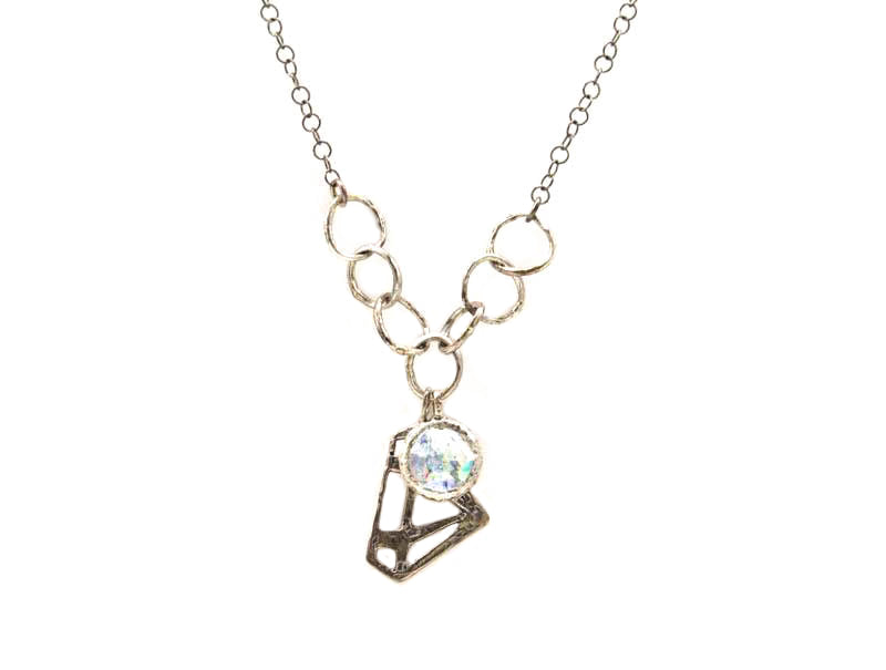 Diamond in the Rough Patina Roman Glass Necklace