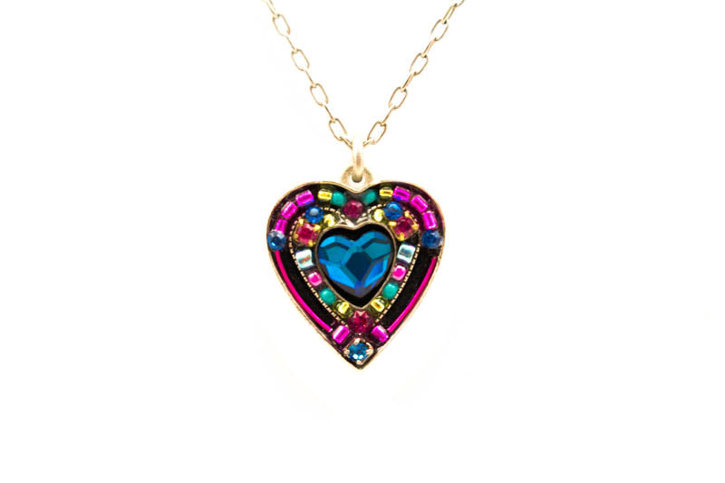 Bermuda Blue Rose Heart Pendant Necklace by Firefly Jewelry