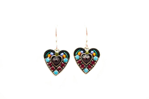 Multi Color Small Red Crystal Heart Earrings by Firefly Jewelry