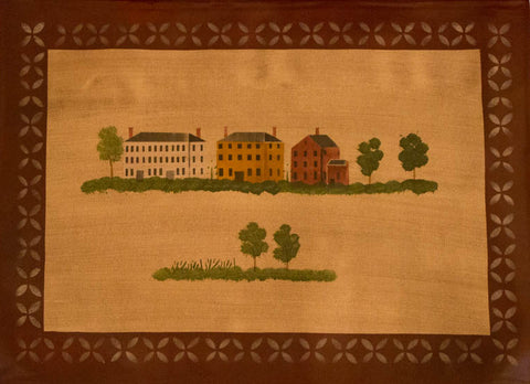 Rufus Porter Village with Maroon Border Floorcloth