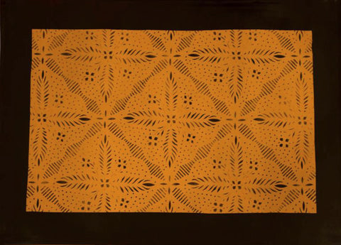 Edward Durant House Squares with Border in Yellow Ochre Floorcloth