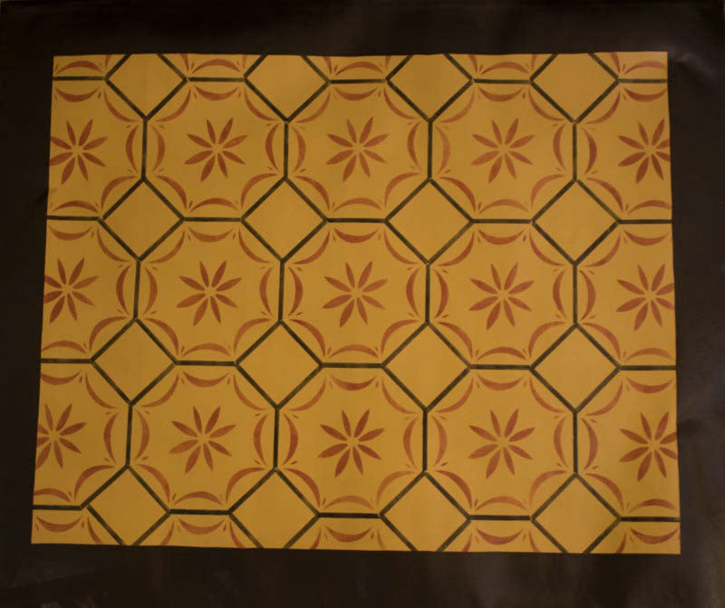 Medfield, MA Floorcloth with Border in Sage Green