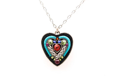 Multicolor Heart within a Heart Pendant Necklace by Firefly Jewelry