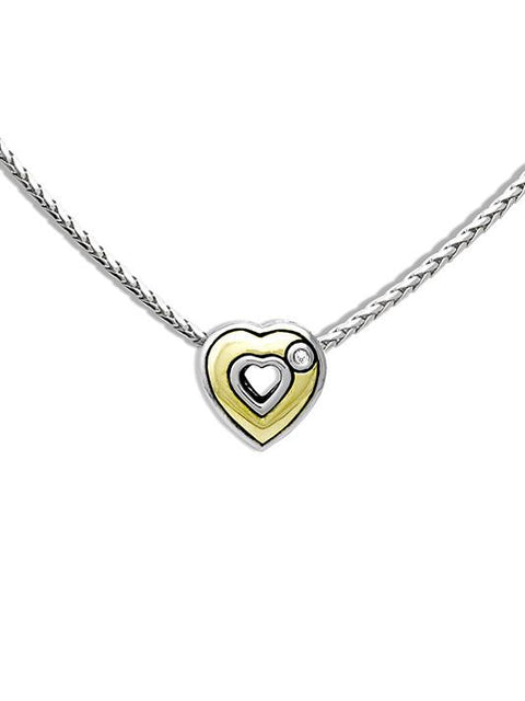 Solid Heart Pendant W/3Mm Cz by John Medeiros