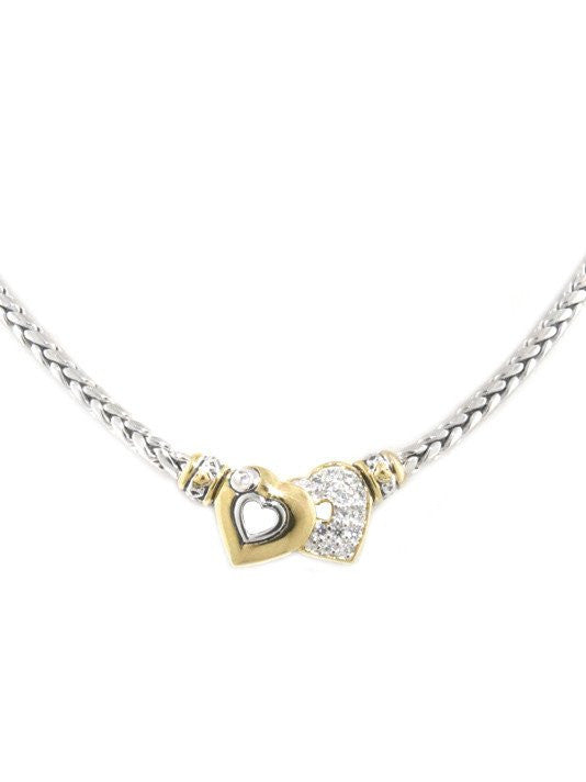 Heart Collection Double Heart Pave Center Necklace by John Medeiros