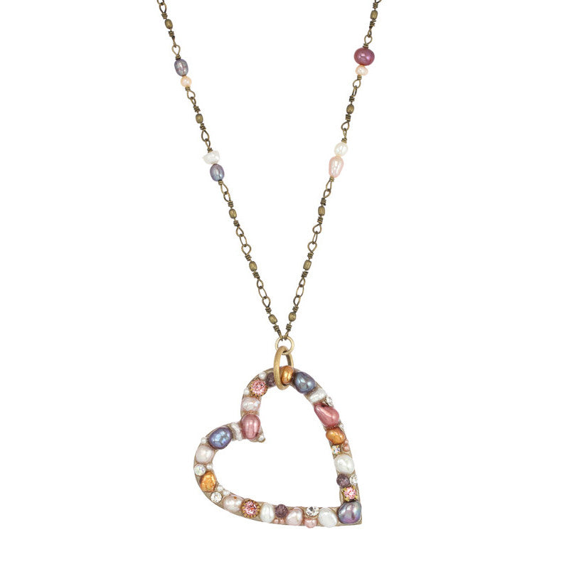 Constellation Open Heart Pearl & Crystal Bead Necklace by Michal Golan