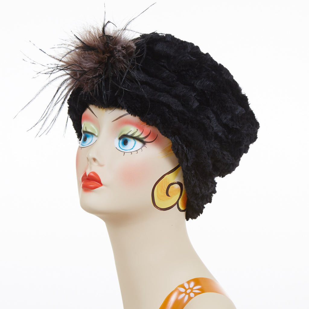 Desert Sand in Midnight Luxury Faux Fur Cuffed Pillbox Hat with Black and Gray Ostrich Feather