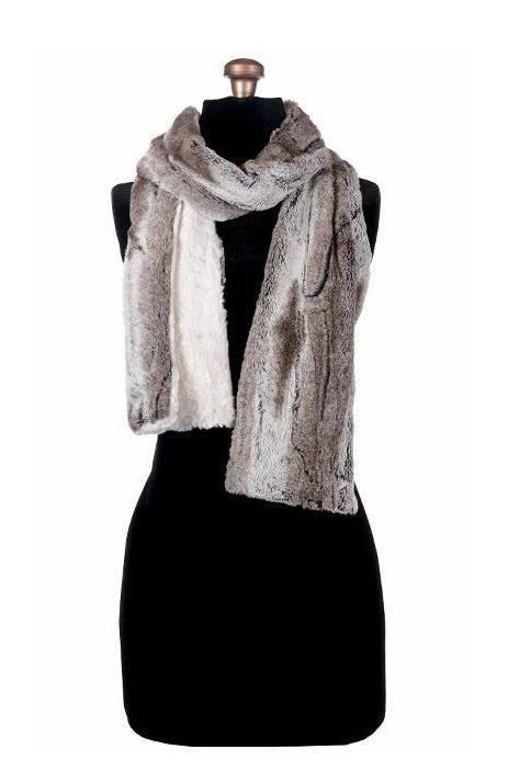Birch with Cuddly Ivory Luxury Faux Fur Scarf