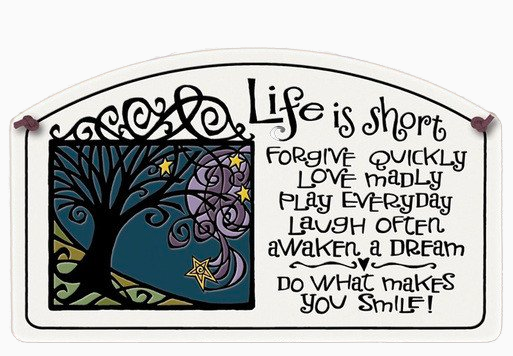 Life is Short Large Arch Ceramic Tile