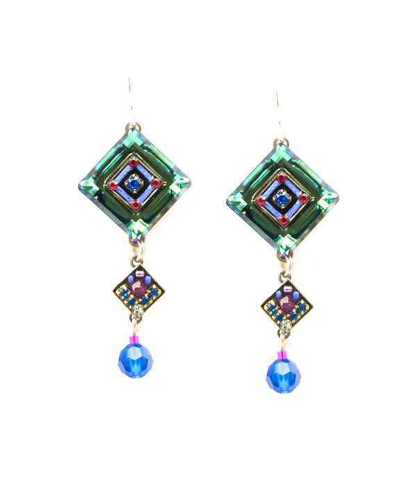 Bermuda Blue La Dolce Vita Crystal Diagonal with Dangle Earrings by Firefly Jewelry
