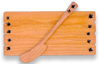 Butter Board with Spreader with Leaf Design