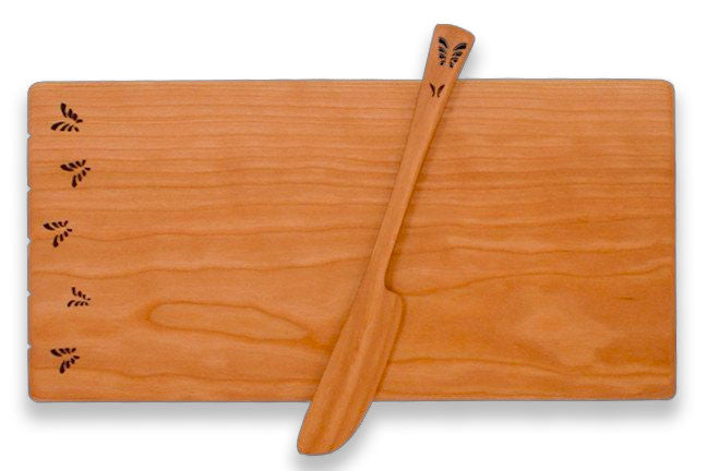 Cheese Board with Spreader with Butterfly Design