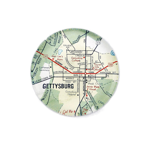 Glass Paperweight with Vintage Gettysburg Map