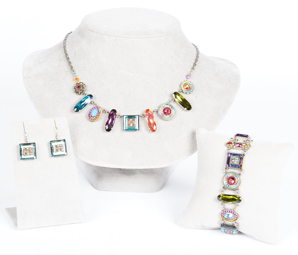 Multi Color La Dolce Vita Oblong Necklace by Firefly Jewelry